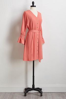 crepe tie waist shirt dress