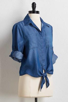 chambray tie front shirt