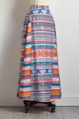 bright aztec maxi skirt