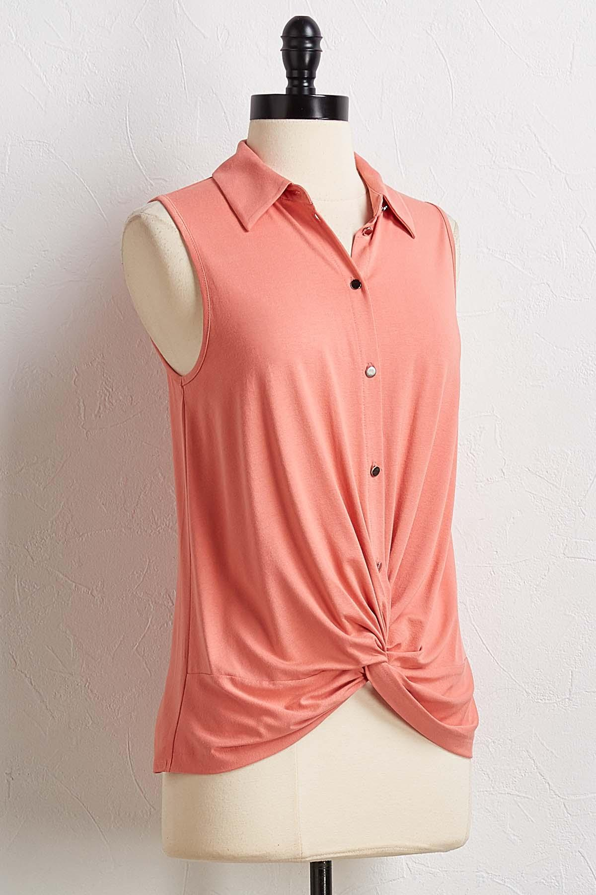 Shell Twisted Button Down Top