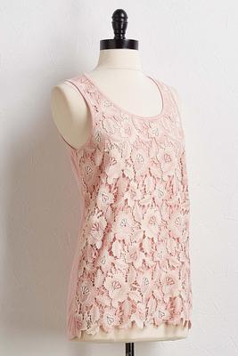 floral crochet tank
