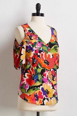 bright floral bare shoulder top