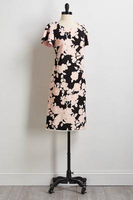 puff floral shift dress