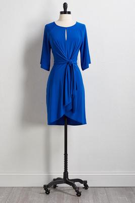 blue tie front dress