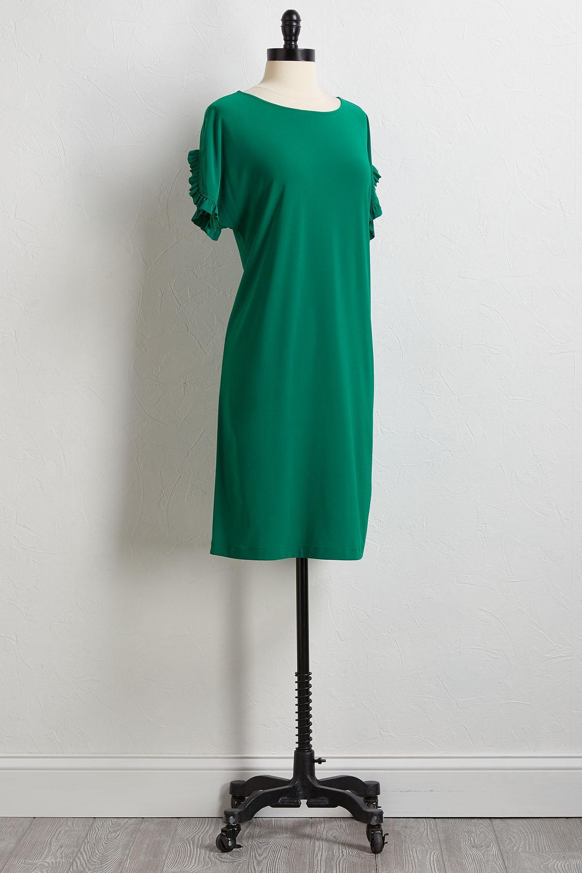 Ruffled Sleeve Knit Shift Dress