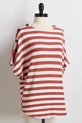 stripe button sleeve top