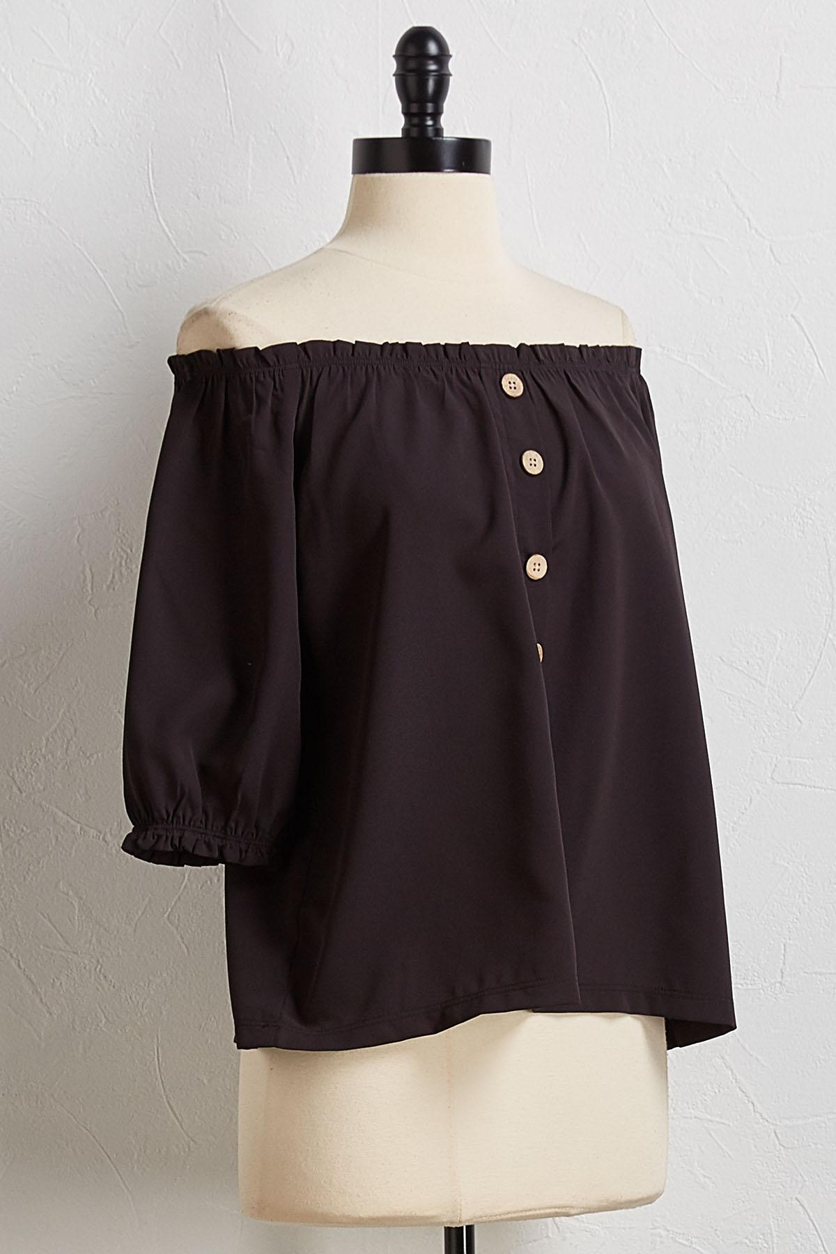 Button Off The Shoulder Top