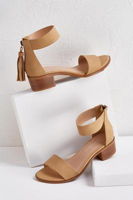 tasseled low block heels