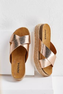 crossband roped flatform wedges