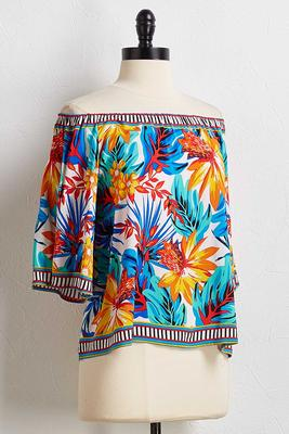 tropical off the shoulder top