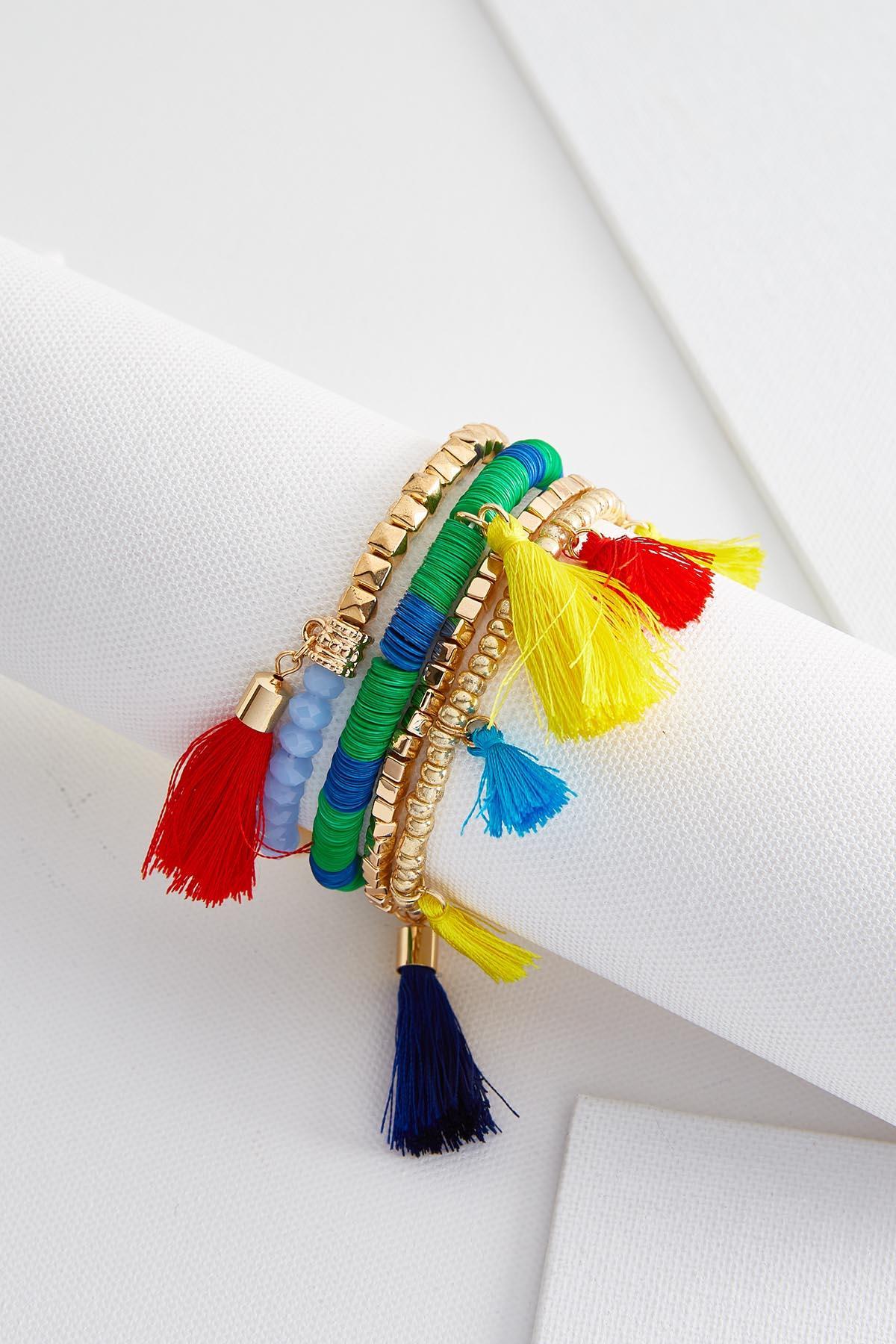 Bead And Tassel Bracelet Set