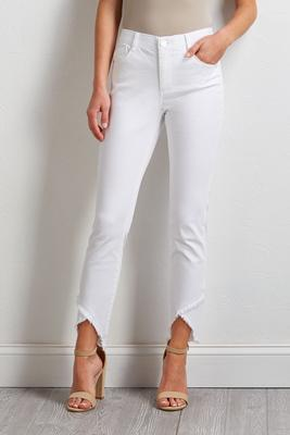 white tulip frayed jeans