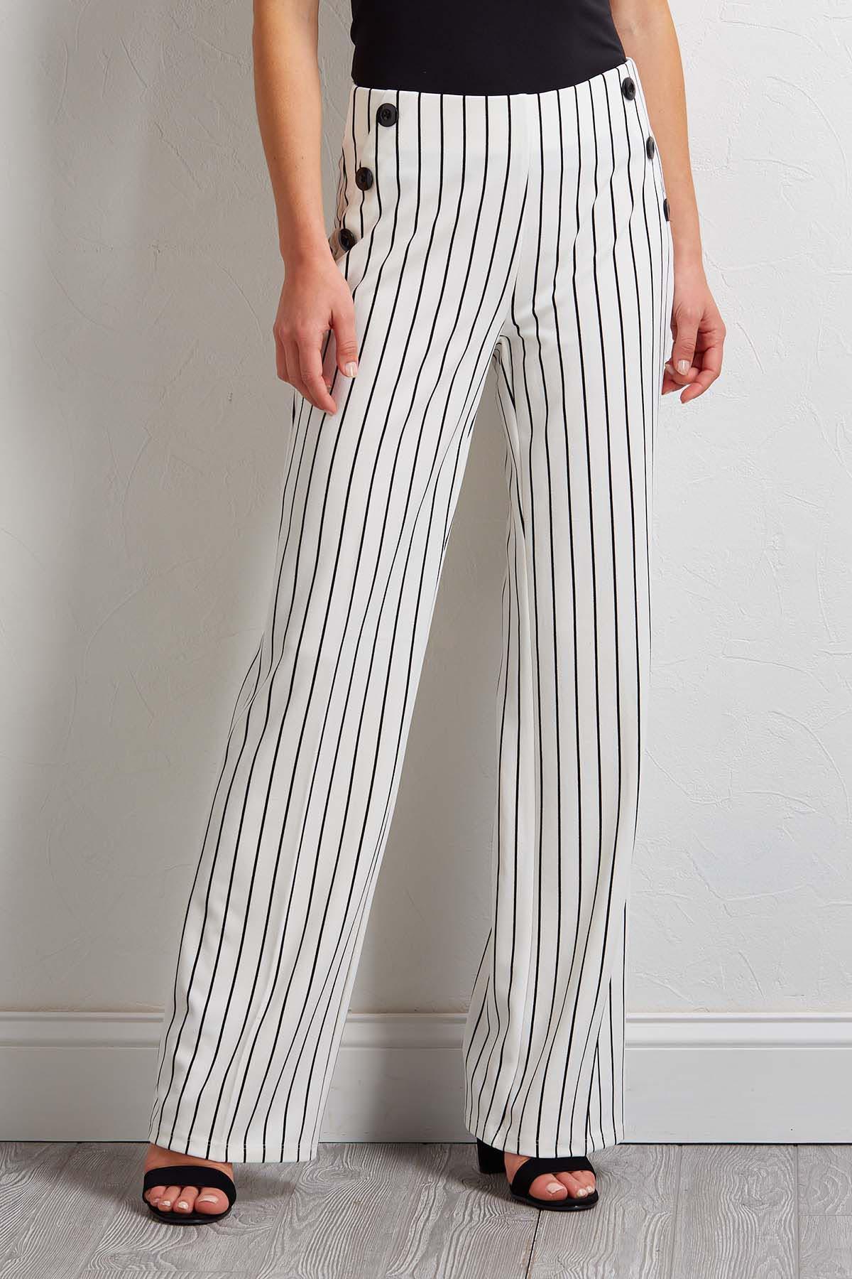 Button Wide Leg Stripe Pants