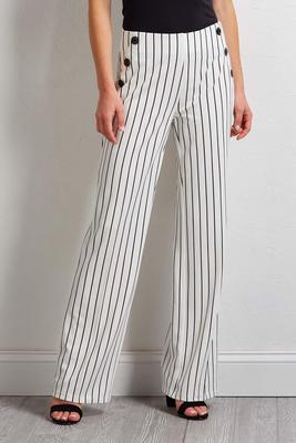 button wide leg stripe pants
