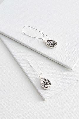 etched tear shaped earrings