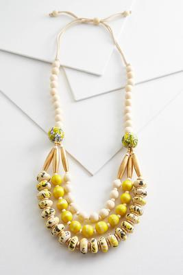 golden wooden bead necklace