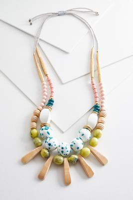 mixed layered bead necklace