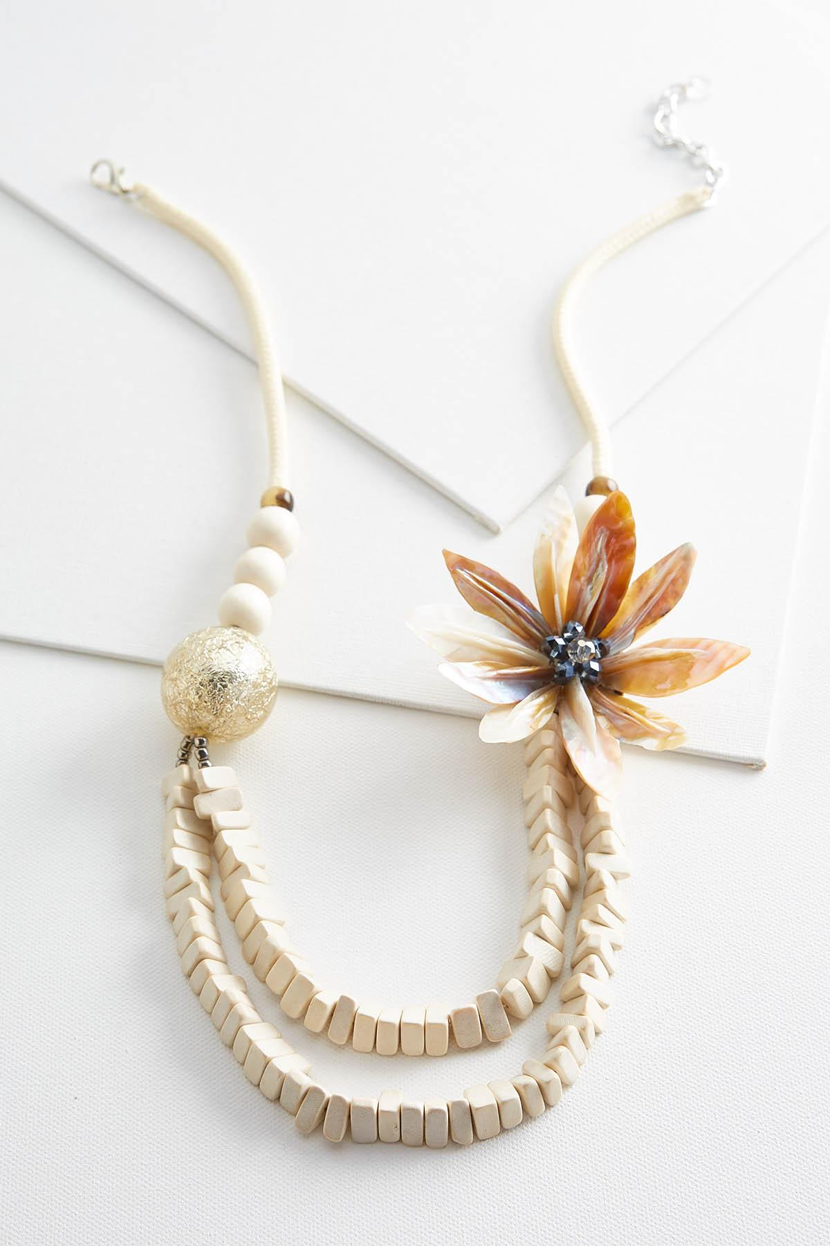 Neutral Bead And Flower Necklace