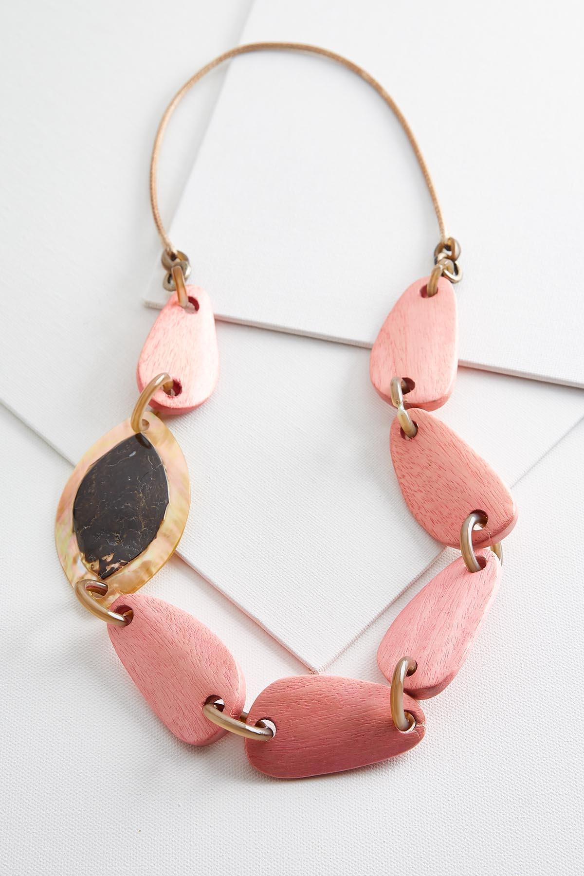 Wood And Shell Cord Necklace