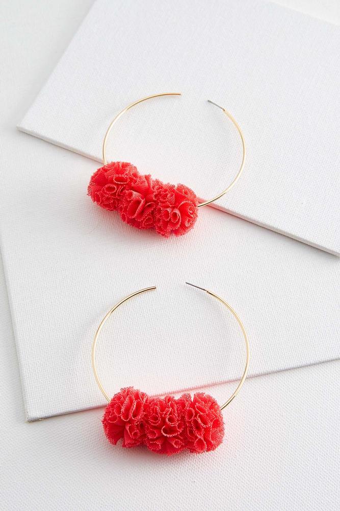 Mesh Floral Hoop Earrings