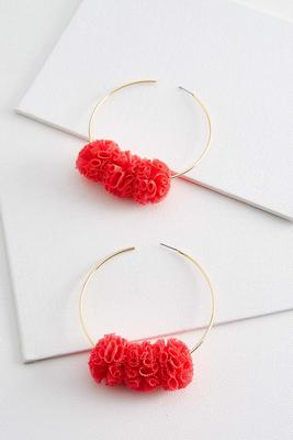 mesh floral hoop earrings