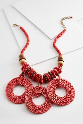 beaded raffia circle necklace