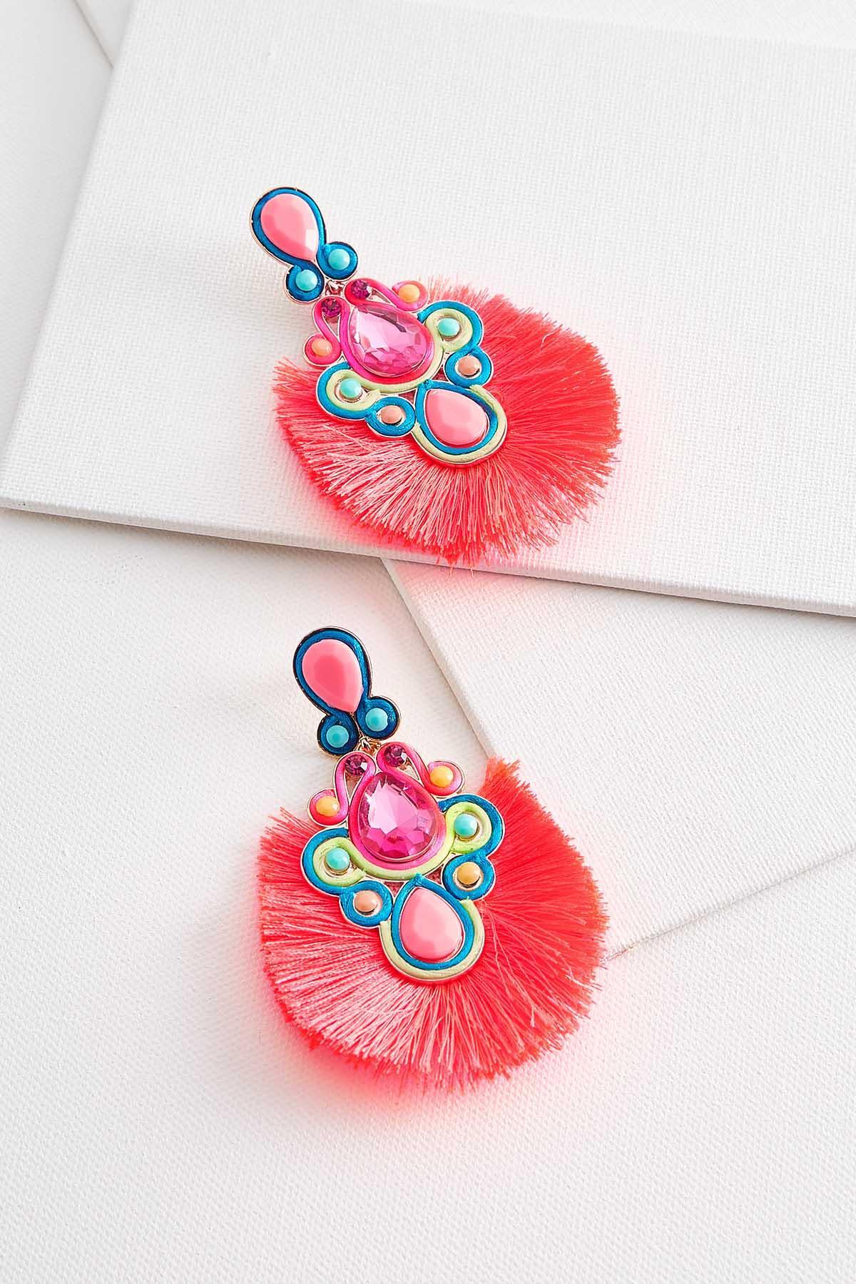 Pink Neon Fringe Earrings