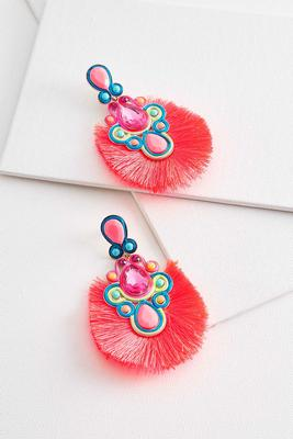 pink neon fringe earrings
