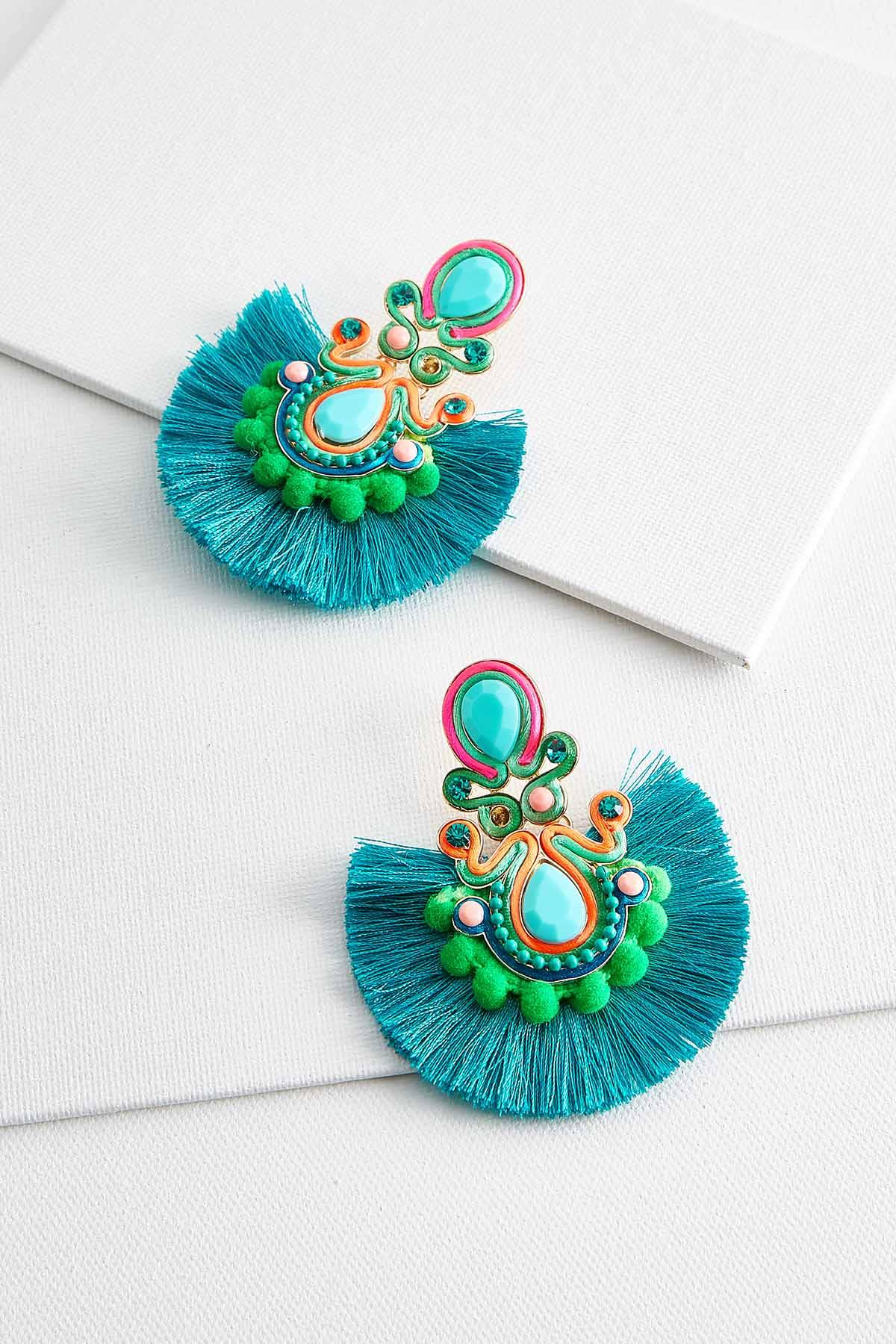 Blue Tiki Fringe Earrings