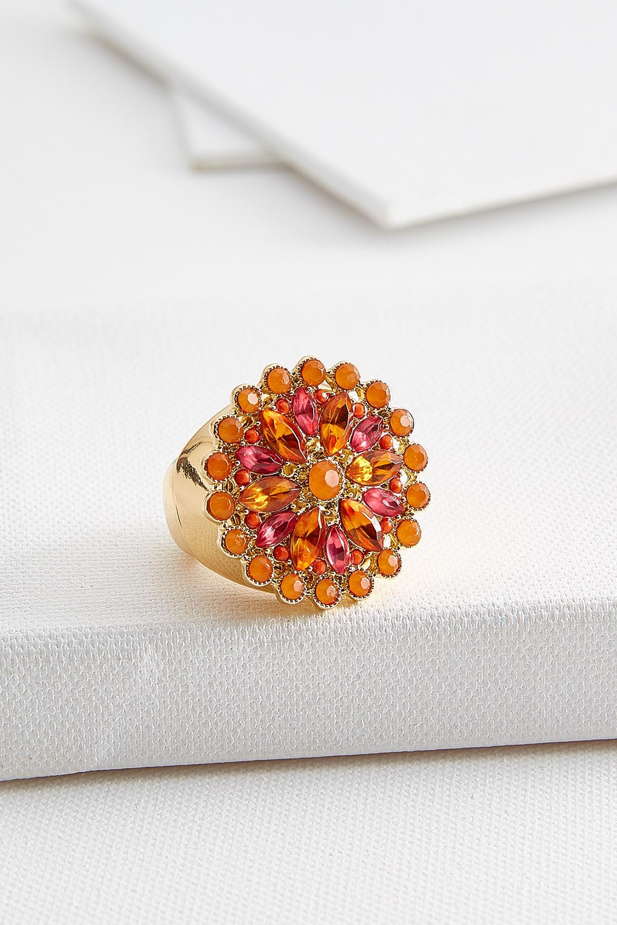 Jeweled Flower Stretch Ring