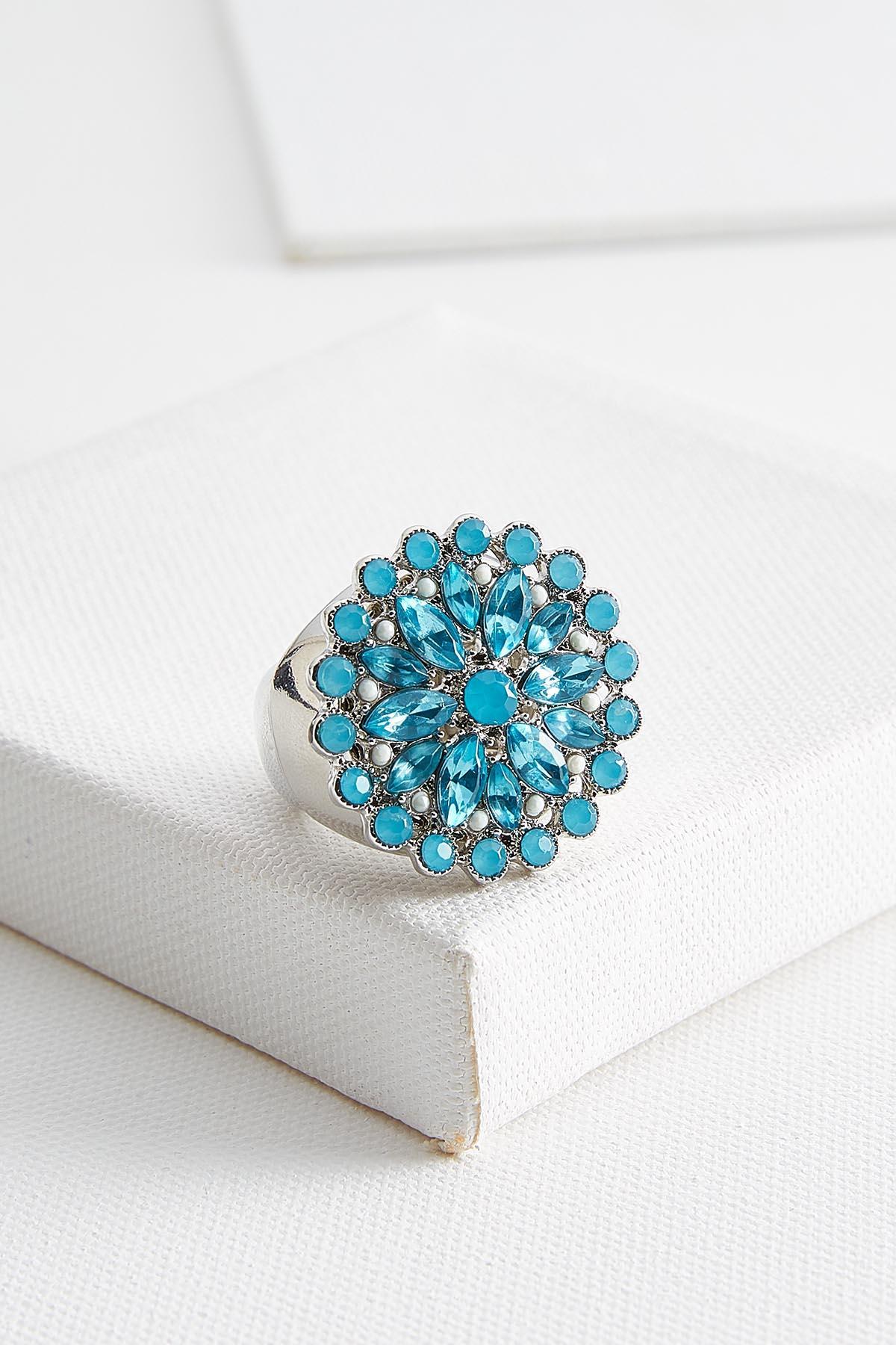 Blue Jeweled Stretch Ring