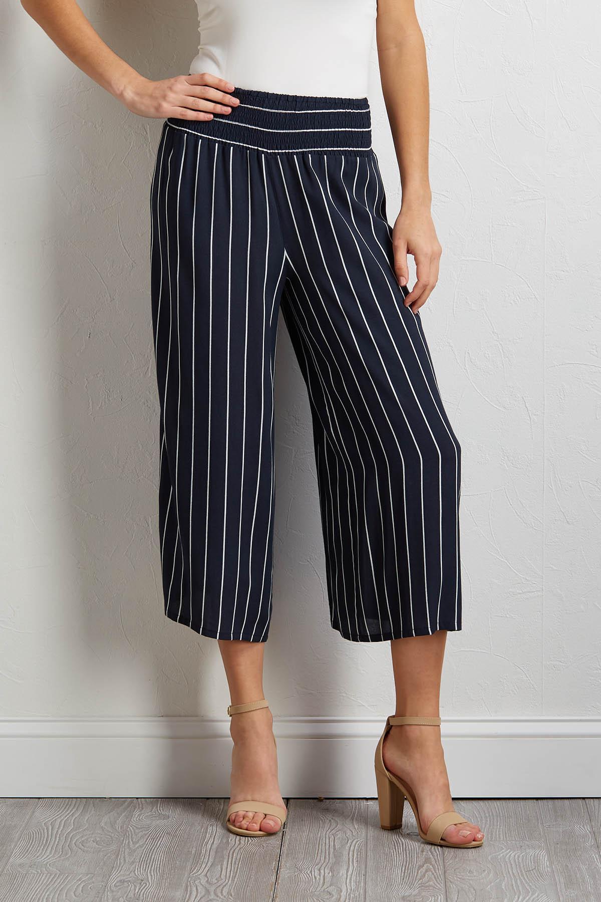 Cropped Smocked Waist Pants