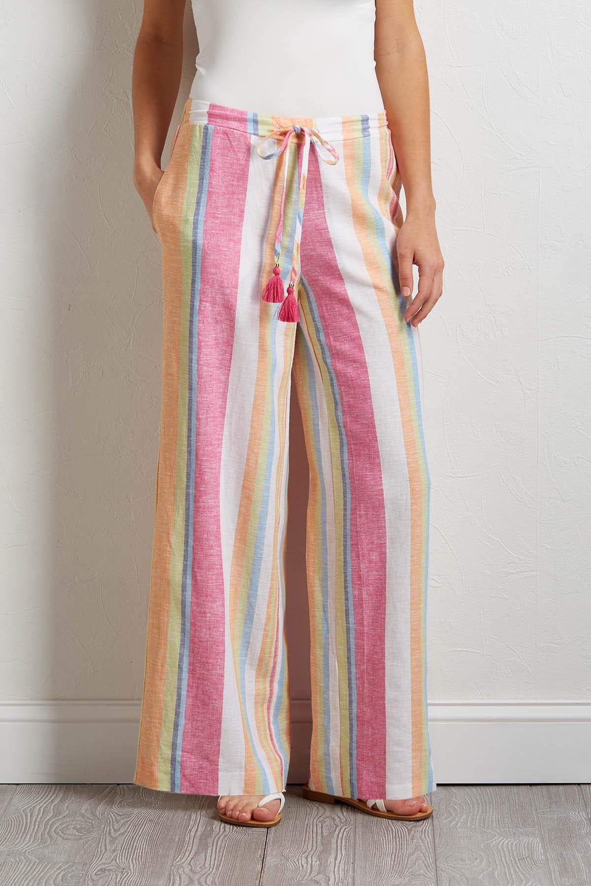 Tasseled Stripe Linen Pants