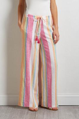 tasseled stripe linen pants