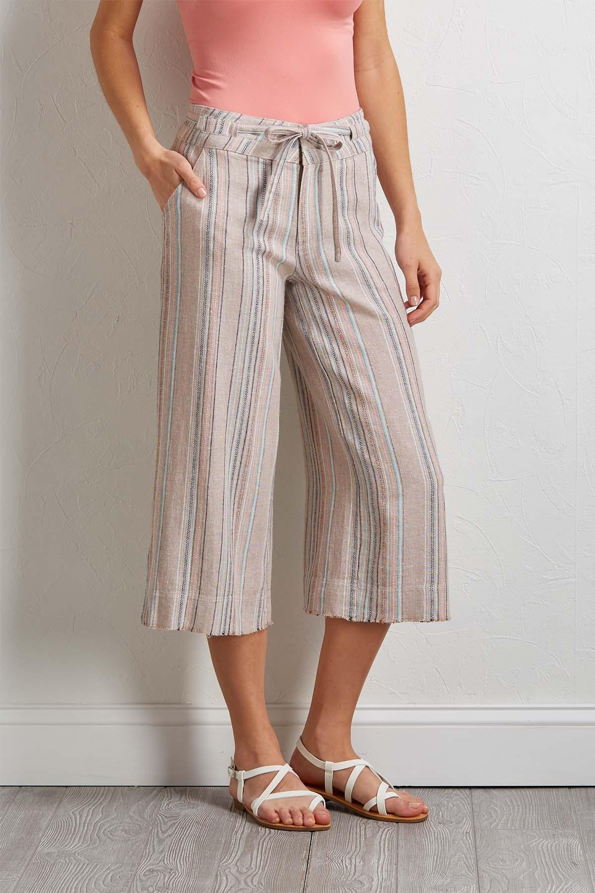 Cropped Stripe Linen Pants
