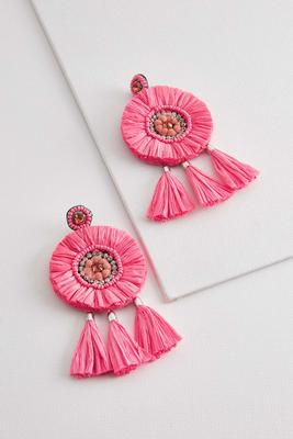 pink raffia tassel earrings