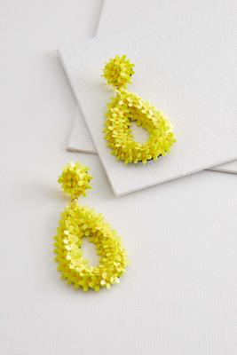 dangling sequin flower earrings