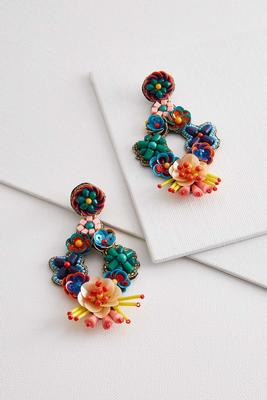 beaded mixed bouquet earrings