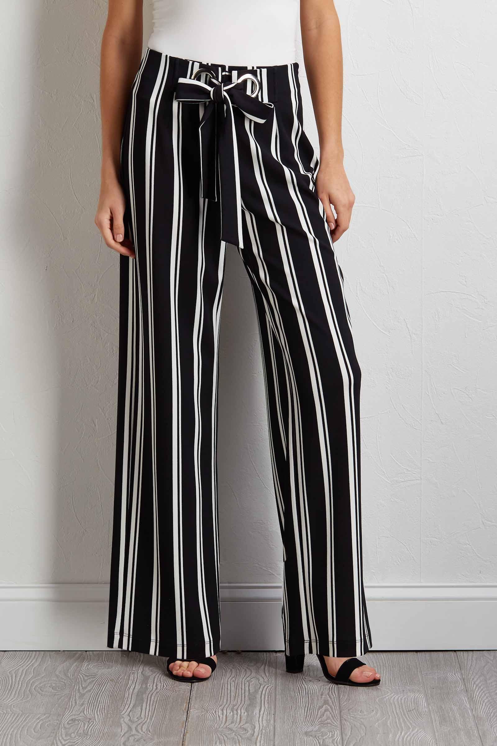 Striped Grommet Tie Pants