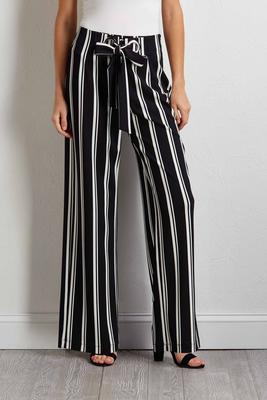 striped grommet tie pants