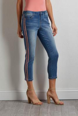 cropped shimmer stripe jeans