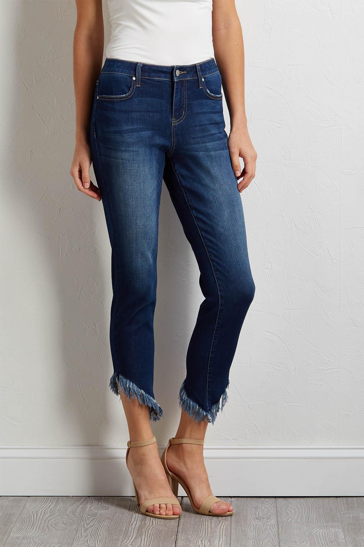Asymmetrical Frayed Hem Jeans
