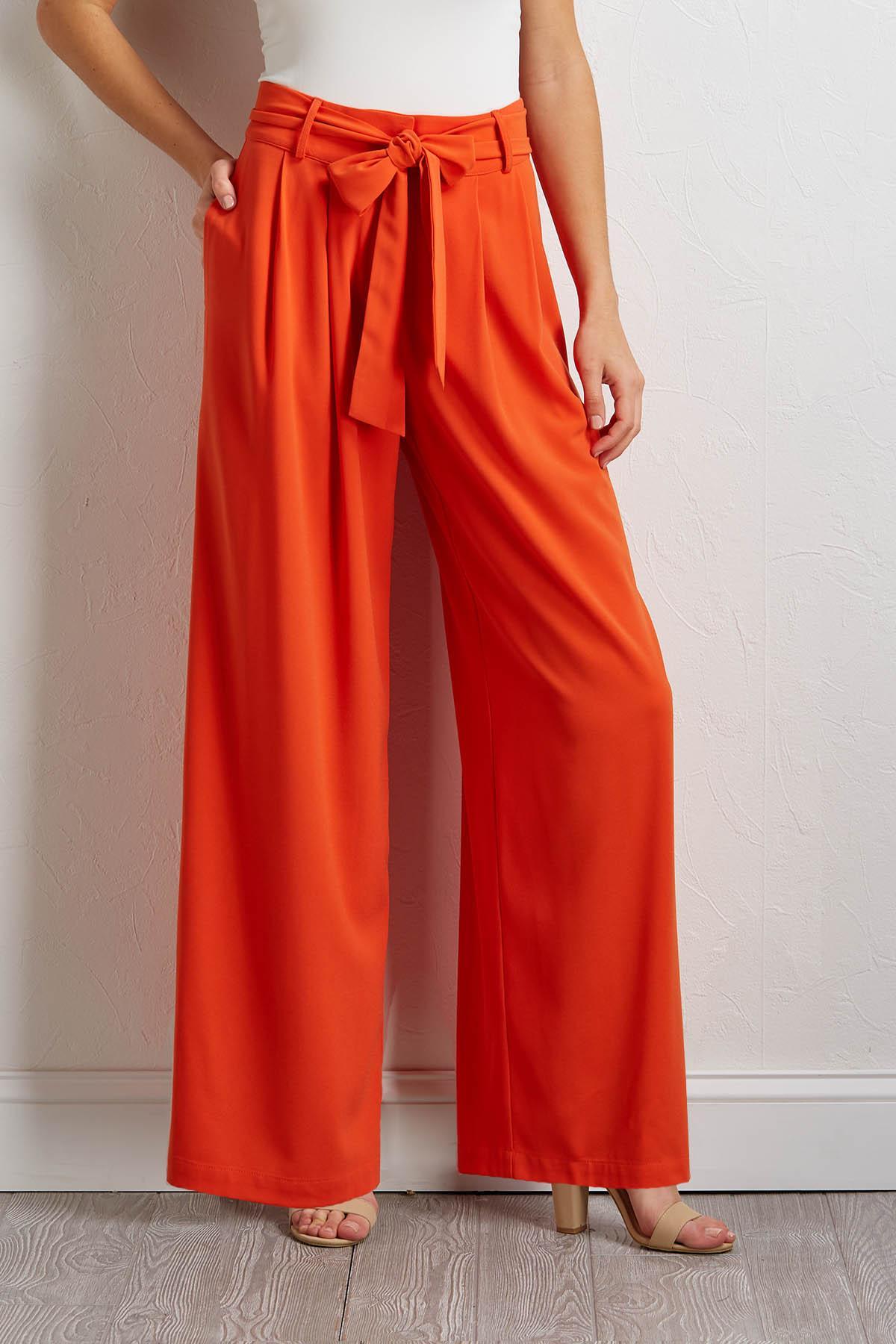 Orange Tie Waist Trouser Pants