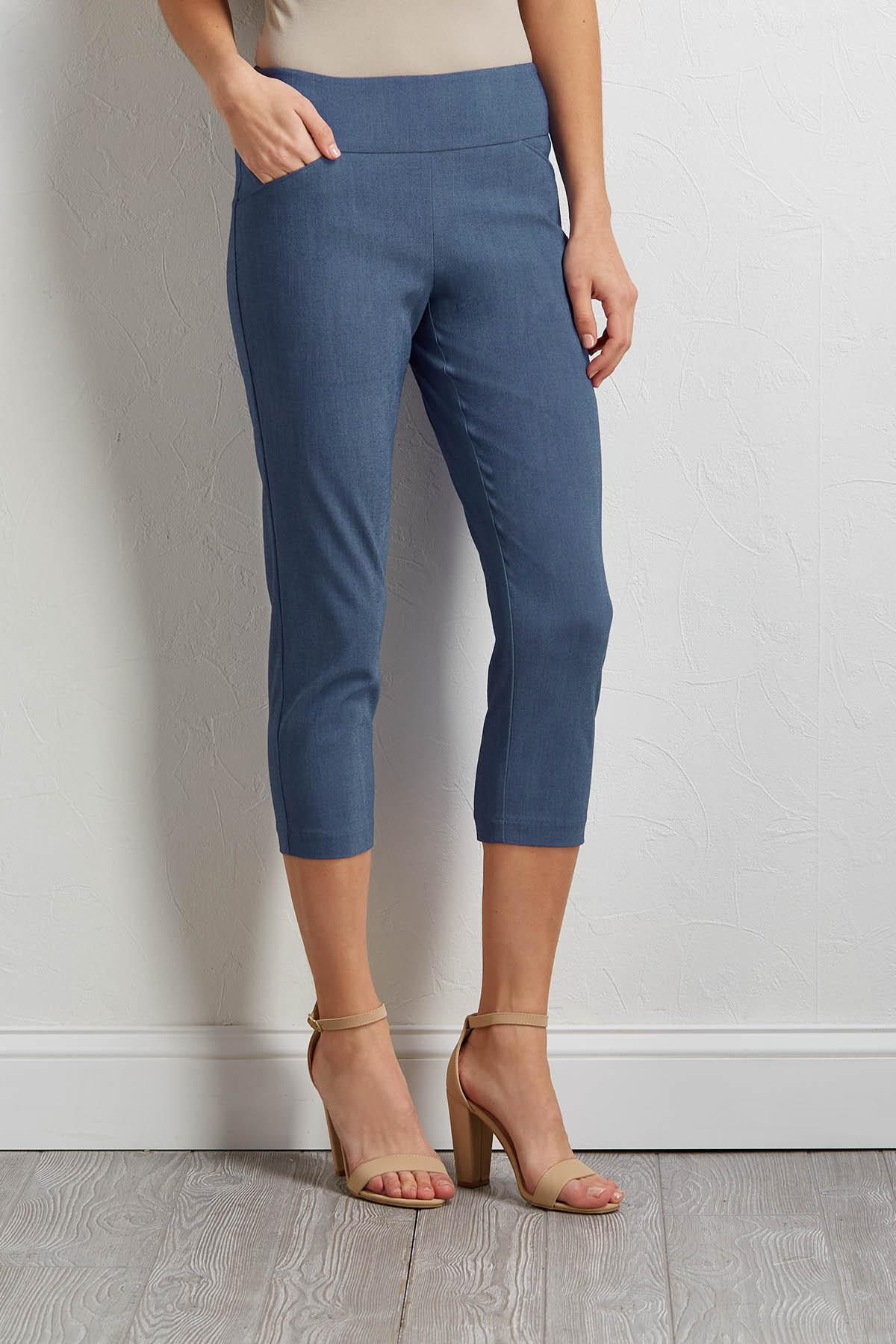Cropped Denim Blue Pants