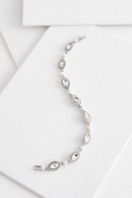 linear pearl and stone bracelet