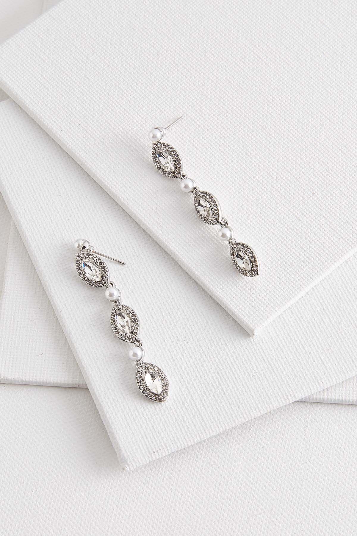 Triple Stone And Pearl Earrings