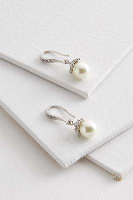 stone cap pearl earrings