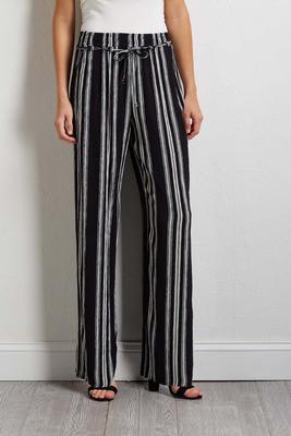 gauze stripe palazzo pants