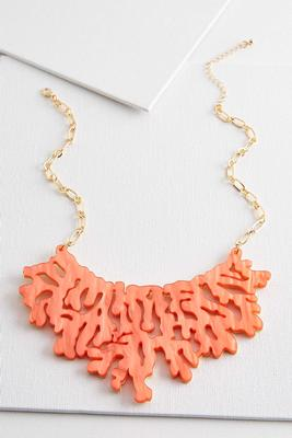 iridescent coral bib necklace