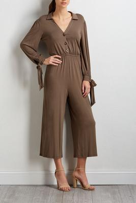 button tie waist jumpsuit
